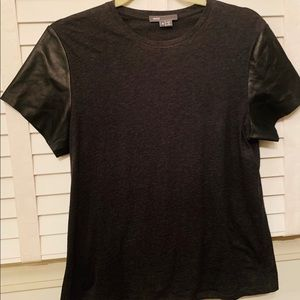 Vince faux leather sleeve top